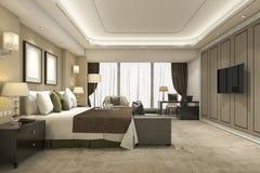 3d teruggevende luxe moderne slaapkamerreeks in hotel en toevlucht Stock Foto