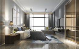 3d teruggevende luxe moderne slaapkamerreeks in hotel met garderobe Stock Foto's