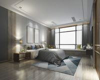 3d teruggevende luxe moderne slaapkamerreeks in hotel met garderobe Royalty-vrije Stock Fotografie