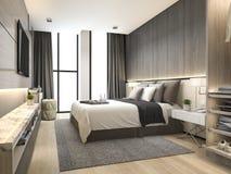 3d teruggevende luxe moderne slaapkamerreeks in hotel met garderobe en gang in kast Stock Fotografie