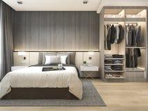 3d teruggevende luxe moderne slaapkamerreeks in hotel met garderobe en gang in kast Stock Afbeelding