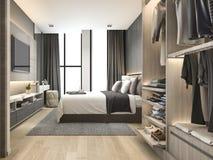 3d teruggevende luxe moderne slaapkamerreeks in hotel met garderobe en gang in kast Stock Foto's