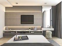 3d teruggevende luxe moderne slaapkamerreeks in hotel met garderobe en gang in kast Stock Foto
