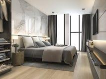 3d teruggevende luxe moderne slaapkamerreeks in hotel met garderobe en gang in kast Royalty-vrije Stock Afbeeldingen
