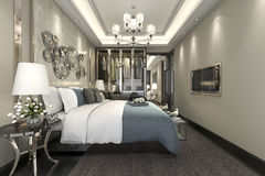 3d teruggevende luxe moderne slaapkamerreeks in hotel met garderobe en gang in kast Royalty-vrije Stock Fotografie