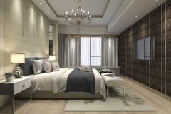 3d teruggevende luxe moderne slaapkamerreeks in hotel met garderobe en gang in kast Royalty-vrije Stock Foto's