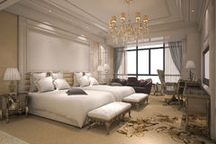 3d teruggevende luxe moderne slaapkamerreeks in hotel met gouden decor Royalty-vrije Stock Fotografie