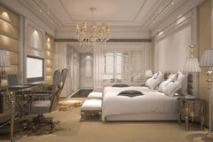 3d teruggevende luxe moderne slaapkamerreeks in hotel met gouden decor Stock Foto