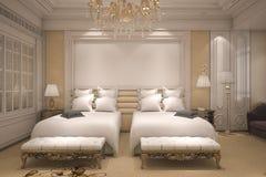 3d teruggevende luxe moderne slaapkamerreeks in hotel met gouden decor Stock Afbeeldingen