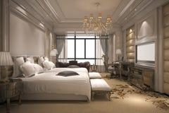 3d teruggevende luxe moderne slaapkamerreeks in hotel met gouden decor Stock Fotografie