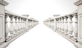 3d teruggevende marmeren ballustraderij met stappen op een witte backgr Royalty-vrije Stock Fotografie