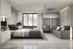 3d teruggevende moderne luxe blauwe slaapkamer met marmeren decor Stock Foto