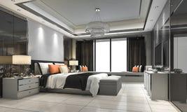 3d teruggevende moderne reeks van de luxeslaapkamer in hotel met decor Stock Foto
