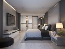 3d teruggevende mooie reeks van de luxeslaapkamer in hotel met TV Royalty-vrije Stock Foto's