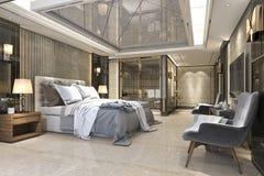 3d teruggevende mooie reeks van de luxeslaapkamer in hotel met TV Royalty-vrije Stock Afbeeldingen