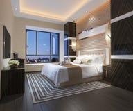 3d teruggevende mooie reeks van de luxeslaapkamer in hotel met TV Stock Afbeelding