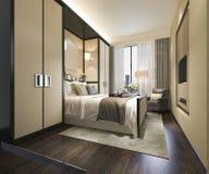 3d teruggevende mooie reeks van de luxeslaapkamer in hotel met TV Stock Afbeeldingen