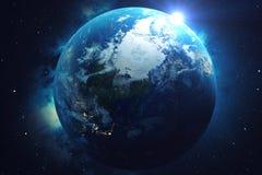3D teruggevende Netwerk en gegevensuitwisseling over aarde in ruimte Verbindingslijnen rond Aardebol Blauwe zonsopgang vector illustratie
