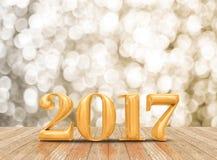 3d teruggevende nieuwe het jaar gouden kleur van 2017 in het verstand van de perspectiefruimte Stock Afbeelding