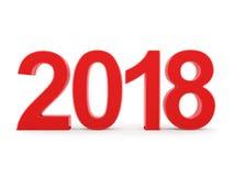 3D teruggevende 2018 Nieuwjaren rode cijfers Royalty-vrije Stock Afbeeldingen