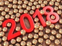 3D teruggevende 2018 Nieuwjaren rode cijfers Royalty-vrije Stock Afbeelding
