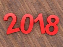 3D teruggevende 2018 Nieuwjaren rode cijfers Stock Foto's