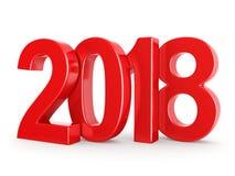 3D teruggevende 2018 Nieuwjaren rode cijfers Stock Foto