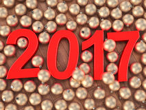 3D teruggevende 2017 Nieuwjaren rode cijfers Stock Afbeelding