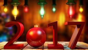 3D teruggevende 2017 Nieuwjaren rode cijfers met een rode Kerstmisbal Stock Afbeelding