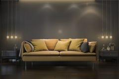3d teruggevende retro luxe gele zachte bank in minimale zwarte woonkamer met lamp Royalty-vrije Stock Afbeelding