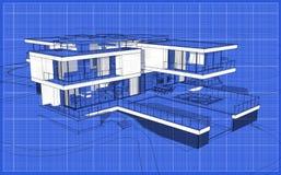 3d teruggevende schets van modern huis royalty-vrije stock afbeelding