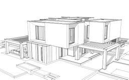 3d teruggevende schets van moderne huis zwarte lijn op witte backgrou royalty-vrije illustratie