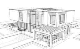 3d teruggevende schets van moderne huis zwarte lijn op witte backgrou vector illustratie