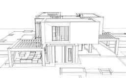 3d teruggevende schets van moderne huis zwarte lijn op witte backgrou stock illustratie