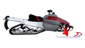 3D Teruggevende Sneeuwscooter op Wit Stock Foto