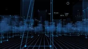 3D Teruggevende technologische digitale achtergrond die uit een futuristische stad met gegevens bestaan royalty-vrije stock foto