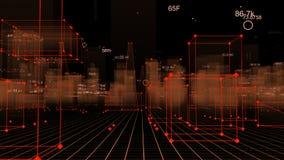 3D Teruggevende technologische digitale achtergrond die uit een futuristische stad met gegevens bestaan royalty-vrije stock foto's