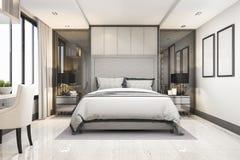 3d teruggevende witte moderne reeks van de luxeslaapkamer in hotel met decor Stock Afbeeldingen
