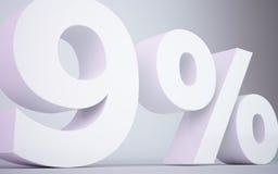 3D teruggevende witte 9 percentage isoleerde witte achtergrond Royalty-vrije Stock Foto's