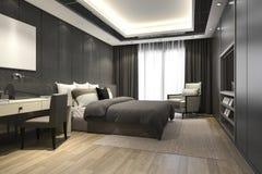 3d teruggevende zwarte luxe moderne slaapkamerreeks in hotel en toevlucht Stock Foto