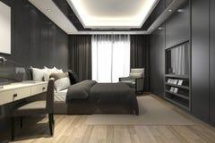 3d teruggevende zwarte luxe moderne slaapkamerreeks in hotel en toevlucht Royalty-vrije Stock Fotografie
