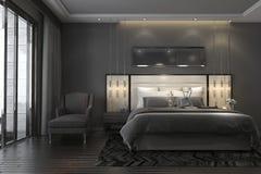 3d teruggevende zwarte luxe moderne slaapkamerreeks in hotel en toevlucht Stock Fotografie