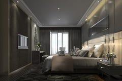 3d teruggevende zwarte luxe moderne slaapkamerreeks in hotel en toevlucht Royalty-vrije Stock Afbeelding