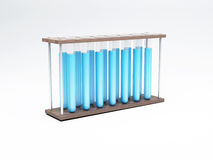 3d Test tubes with blue liquid. Science concept. Stock Images