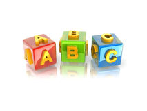 3d text ABC. Yellow 3d text ABC on reflective colorful cubes Stock Photo