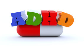3d text ADHD disorder. And capsule royalty free illustration