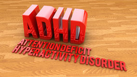 3d text ADHD disorder Stock Photos