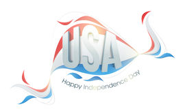 3D Text for American Independence Day. Glossy 3D Text U. S. A on American Flag colors abstract design for Happy Independence Day celebration royalty free illustration