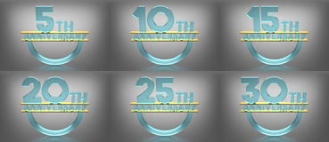 3D Text Anniversary, Glass Material, Various Numbers royalty free illustration