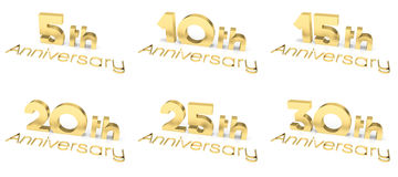 3D Text Anniversary, Various Numbers Royalty Free Stock Photo